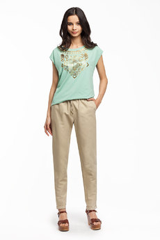 Бежевые льняные брюки Vilatte
