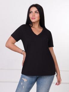 Черная женская футболка с V-образным вырезом Brosko