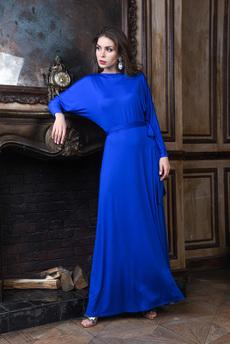 Длинное вечернее платье с поясом и вырезом на спине Mondigo