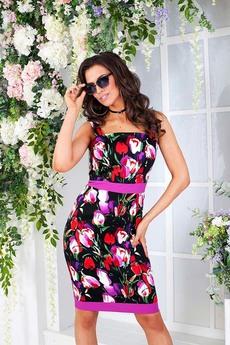 Черное платье с розовыми цветами Angela Ricci